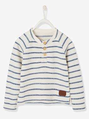 Boys-Cardigans, Jumpers & Sweatshirts-Grandad-Style Top in Striped Stylish Knit, for Boys