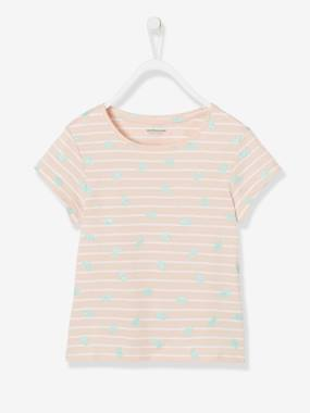 haut-Striped T-Shirt for Girls, Glittery Fruit Motifs