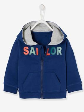 Baby-Cardigans & Sweaters-Jacket with Zip & Motif for Baby Boys