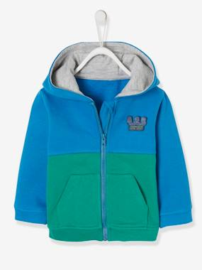 Baby-Jumpers, Cardigans & Sweaters-Jacket with Zip & Bright Colours for Baby Boys