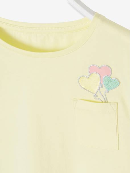 T-Shirt with Stylish Balloons Motif on Breast for Girls YELLOW LIGHT SOLID WITH DESIGN - vertbaudet enfant