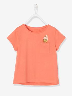 Vertbaudet Collection-Girls-Tops-T-Shirt For Girls, With Sequinned Ice Cream Motif