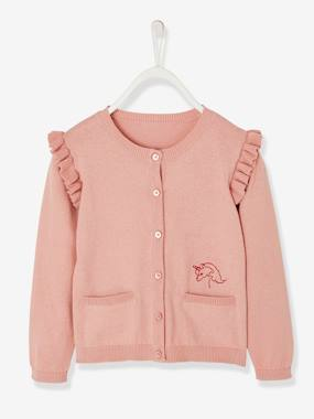 Girls-Cardigans, Jumpers & Sweatshirts-Cardigan with Ruffles and Embroidery, for Girls