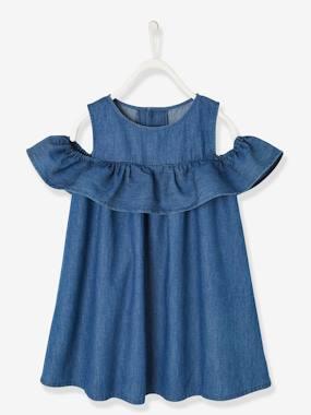 Mid season sale-Girls-Dresses-Off-the-Shoulder Dress in Light Denim, for Girls