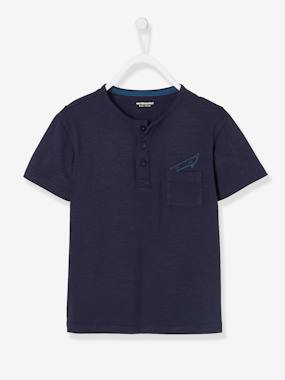 haut-Grandad-Style T-shirt for Boys, Motif on Chest Pocket