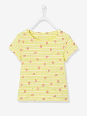 Vertbaudet Collection-Girls-Tops-Striped T-Shirt for Girls, Glittery Fruit Motifs