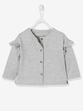 Baby-Jumpers, Cardigans & Sweaters-Sweatshirt with Press Studs, Frills on the Sleeves, for Baby Girls