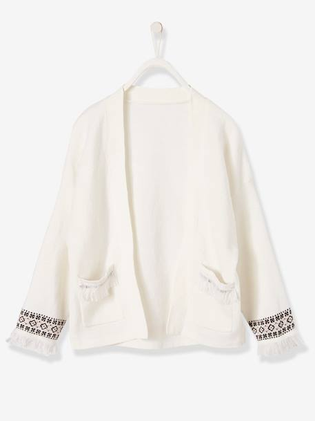 Cardigan with Ethnic Motifs and Fringes, for Girls WHITE LIGHT SOLID WITH DESIGN - vertbaudet enfant
