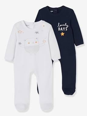 Baby-Pyjamas-Pack of 2 Cotton Sleepsuits for Babies, Press Studs on the Back