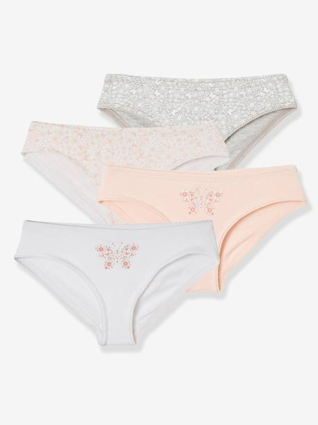 0ac884637 Pack of 4 Briefs for Girls - pink light solid with design, Girls