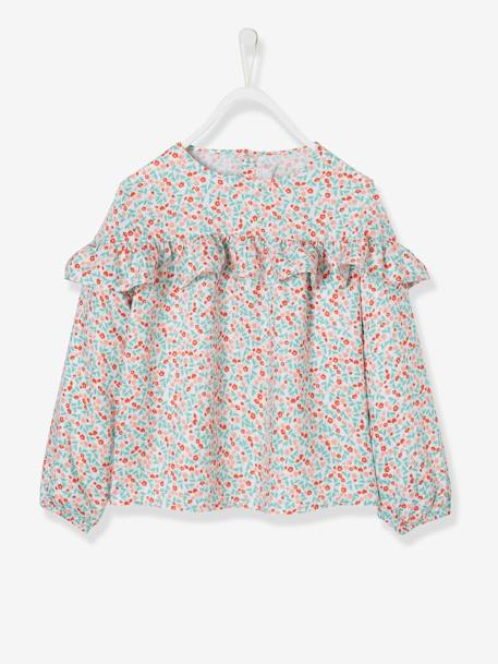 Ruffled Blouse with Floral Print for Girls WHITE LIGHT ALL OVER PRINTED - vertbaudet enfant