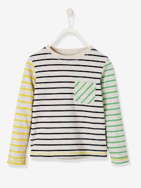 Vertbaudet Collection-Boys-Reversible T-Shirt for Boys, Striped/Print