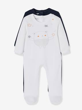 Basics and Multipacks-Baby-Pack of 2 Cotton Sleepsuits for Babies, Press Studs on the Back