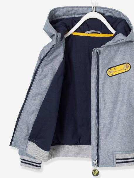 Hooded Jacket for Boys BLUE DARK SOLID WITH DESIGN+BLUE MEDIUM MIXED COLOR - vertbaudet enfant