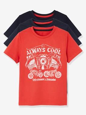 222b441374ed2 Lot de 3 T-shirts garçon manches courtes - lot marine grise