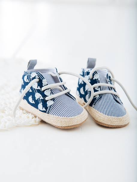 Lace-Up Pram Shoes for Baby Boys BLUE DARK ALL OVER PRINTED - vertbaudet enfant
