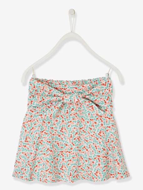 Printed Skirt for Girls with Tie Belt WHITE LIGHT ALL OVER PRINTED+WHITE MEDIUM ALL OVER PRINTED - vertbaudet enfant
