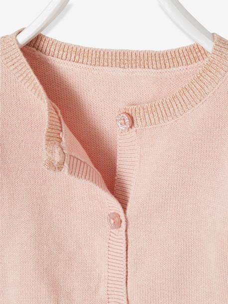 Bolero Cardigan with Iridescent Detail for Baby Girls PINK LIGHT SOLID+WHITE LIGHT SOLID - vertbaudet enfant