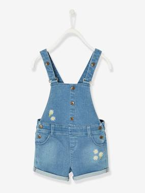 Girls-Dungarees & Playsuits-Denim Dungaree Shorts for Girls
