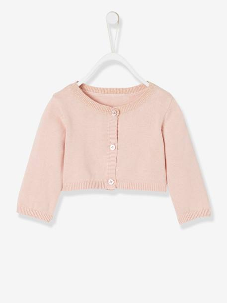 16887f5d5 Bolero Cardigan with Iridescent Detail for Baby Girls - pink light solid ...