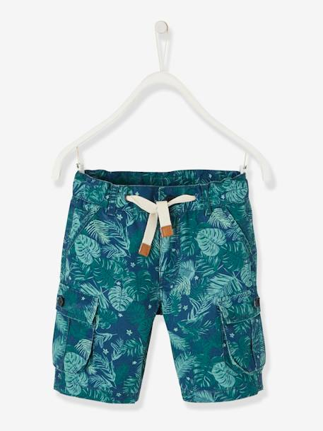 Cargo-Style Bermuda Shorts for Boys BEIGE MEDIUM SOLID+BLUE DARK SOLID+BLUE MEDIUM ALL OVER PRINTED+GREEN DARK ALL OVER PRINTED - vertbaudet enfant