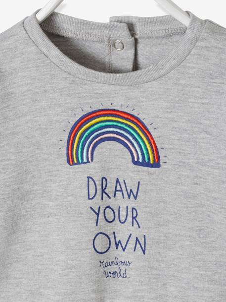 Sweatshirt with Rainbow Motif for Baby Girls GREY LIGHT MIXED COLOR - vertbaudet enfant