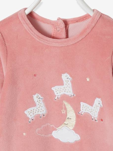 Velour Sleepsuit for Babies, Press Studs on the Back PINK MEDIUM SOLID WITH DESIG - vertbaudet enfant