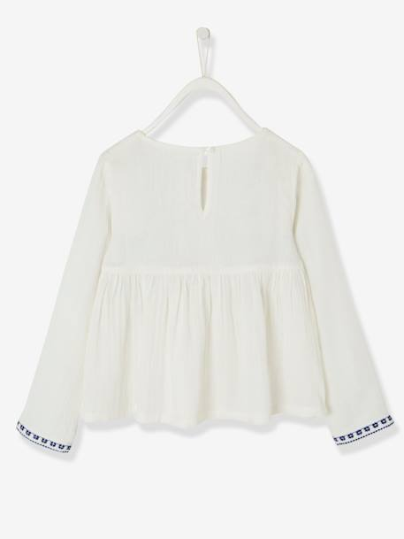 Long-Sleeved Embroidered Blouse with Tassels for Girls WHITE LIGHT SOLID WITH DESIGN - vertbaudet enfant