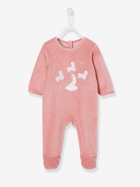 Vertbaudet Sale-Baby-Velour Sleepsuit for Babies, Press Studs on the Back
