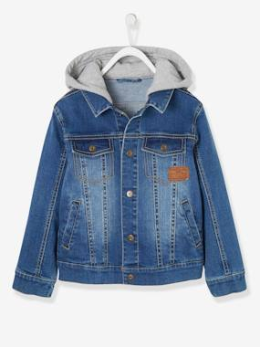 Vertbaudet Collection-Boys-Denim Jacket with Hood for Boys