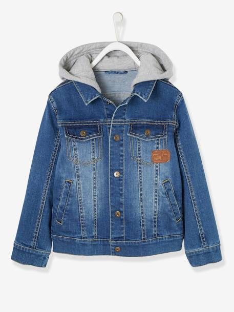Denim Jacket with Hood for Boys BLUE DARK WASCHED - vertbaudet enfant