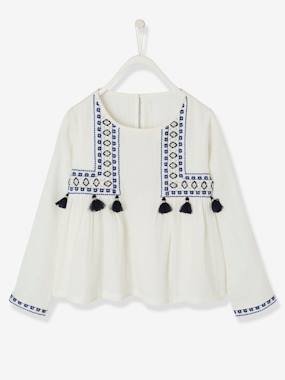 Girls-Blouses, Shirts & Tunics-Long-Sleeved Embroidered Blouse with Tassels for Girls