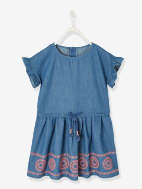 Dresses-Embroidered Dress, in Chambray, for Girls