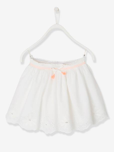 Broderie Anglaise Skirt for Girls BLUE DARK SOLID+WHITE LIGHT SOLID - vertbaudet enfant