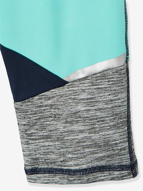 Two-Tone Sports Leggings for Girls, Reflecting Details BLUE LIGHT SOLID WITH DESIGN - vertbaudet enfant