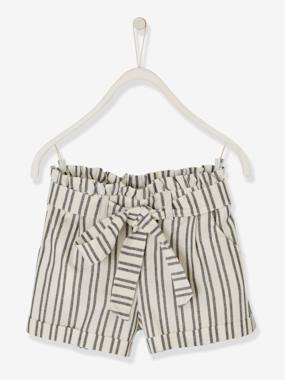 Girls-Shorts-Striped Shorts with Tie Belt, for Girls