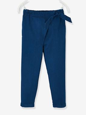 Girls-Trousers-Trousers for Girls, with Sash Ties