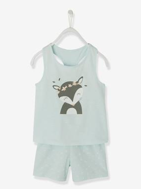 Mid season sale-Girls-Nightwear-Dual Fabric Short Pyjamas for Girls, Fox