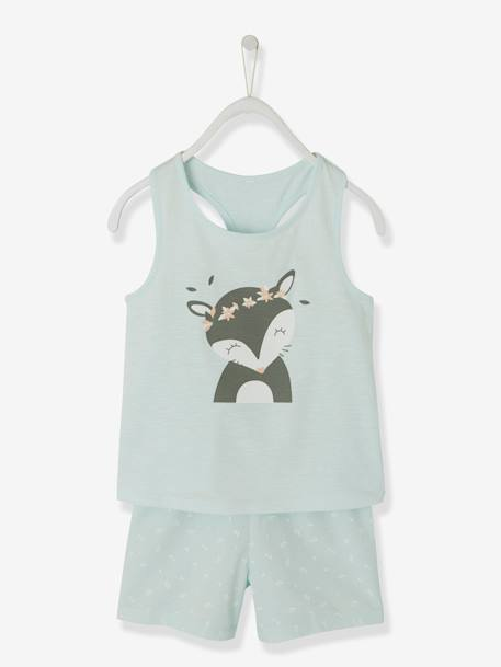 Dual Fabric Short Pyjamas for Girls, Fox BLUE LIGHT SOLID WITH DESIGN - vertbaudet enfant