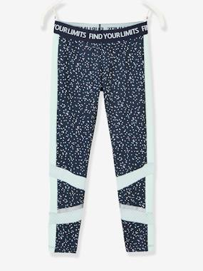Girls-Sportswear-Sports Leggings for Girls, Printed, Techno Details