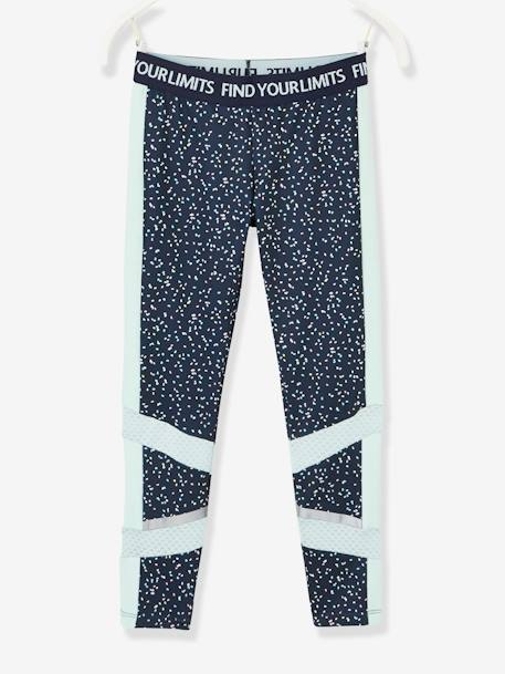 Sports Leggings for Girls, Printed, Techno Details BLUE DARK ALL OVER PRINTED - vertbaudet enfant