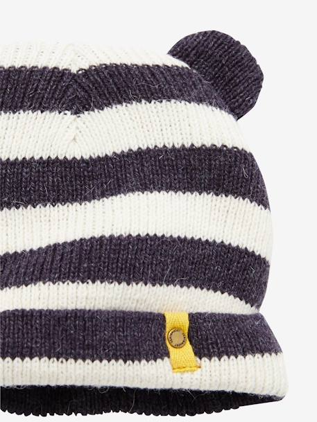 Baby Boy's Hat + Scarf + Mittens set GREY DARK STRIPED - vertbaudet enfant