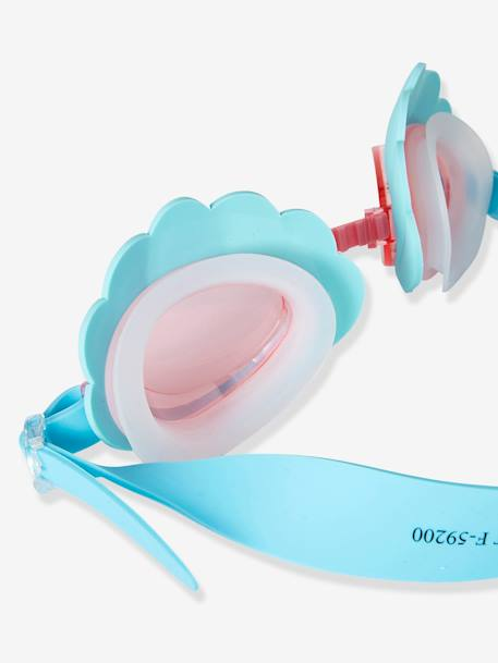 Shell-Shaped Goggles for Girls BLUE MEDIUM SOLID WITH DESIGN - vertbaudet enfant
