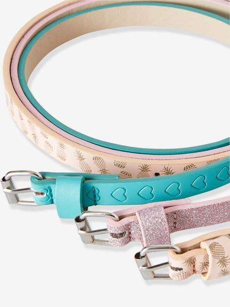 Pack of 3 Belts for Girls BLUE MEDIUM TWO COLOR/MULTICOL+PINK LIGHT ALL OVER PRINTED - vertbaudet enfant