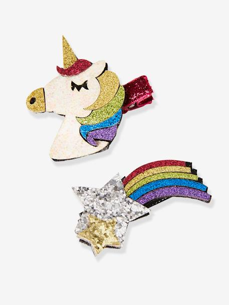 Set of 2 Unicorn & Falling Star-Shaped Hair Clips, with Glitter, for Girls GREY MEDIUM TWO COLOR/MULTICOL - vertbaudet enfant