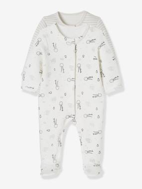 Vertbaudet Collection-Baby-Baby Pack of 2 Printed Fleece Pyjamas, Back Press-Studs