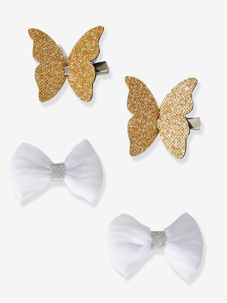 Set of 4 Butterfly & Bow-Shaped Hair Clips for Girls BEIGE MEDIUM SOLID - vertbaudet enfant