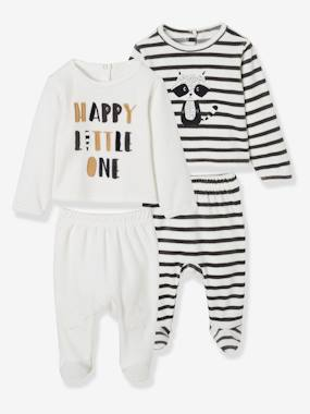 Vertbaudet Sale-Baby-Pack of 2 Two-Piece Velour Pyjamas for Babies