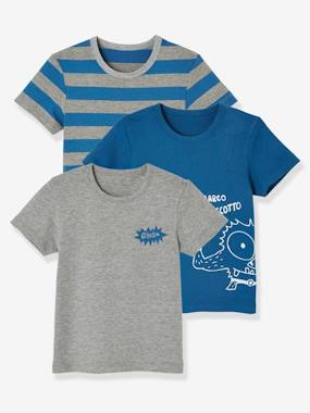 Boys-Underwear-Pack of 3 Stretch T-shirts for Boys, Biscotto
