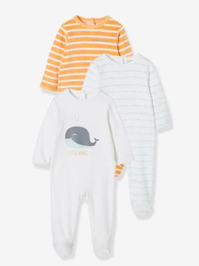 Basics and Multipacks-Pack of 3 Velour Sleepsuits for Babies, Press-Stud Fastening on the Back